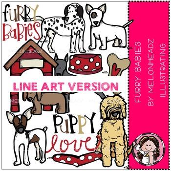 Melonheadz: Furry Babies clip art - BLACK AND WHITE