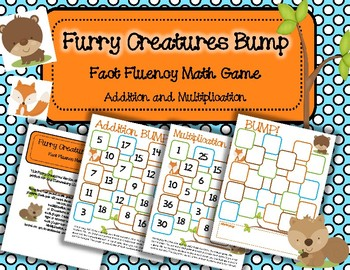 Furry Creatures Bump Addition and Multiplication: Fact Fluency Game and Center