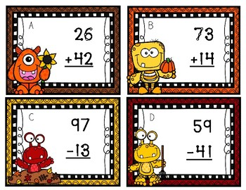 Furry Friends at the Fall Festival Double Digit Touch Math Task Cards