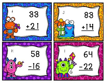 Furry Friends in the Garden Double Digit Touch Math Task Cards