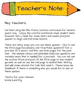 Fusion Science Pre/Post quizzes Unit 1 : Lesson 1