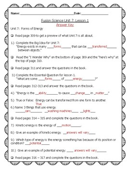 Fusion Science Unit 7 Lesson 1 Guided notes