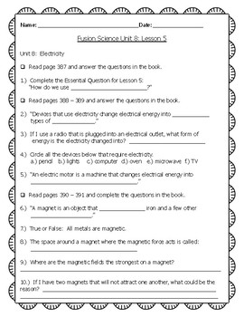 Fusion Science Unit 8 Lesson 5 guided notes