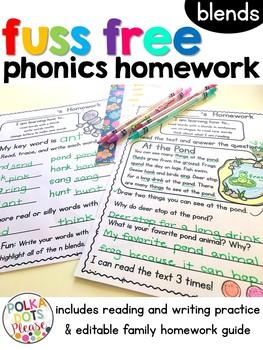 Fuss Free Phonics Homework for Blends