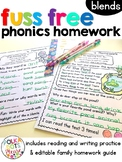 Reading Homework for Blends | Distance Learning