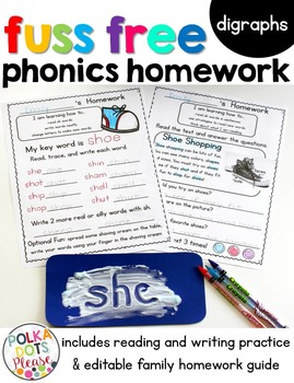 Fuss Free Phonics Homework for Digraphs (sh, ch, th, tch)
