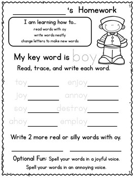 Fuss Free Phonics Homework for Dipthongs and R Controlled Vowels
