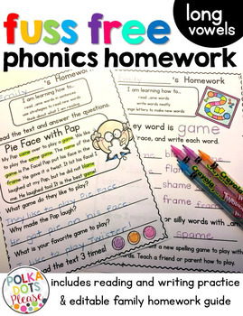 Fuss Free Phonics Homework for Long Vowel Word Families