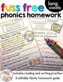 Reading Homework Long Vowels