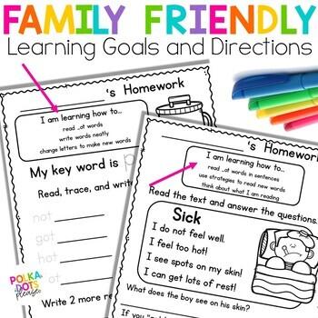 Fuss Free Phonics Homework for Short Vowel Word Families