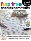 Reading Homework Vowel Teams