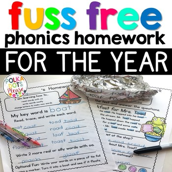 Fuss Free Phonics Homework for the YEAR!