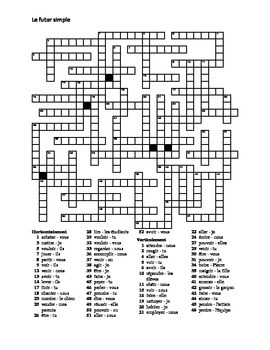 Futur simple (Future tense in French) ALL verbs Crossword