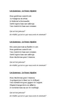 Futur régulier (Future tense in French) Jumeaux Speaking activity