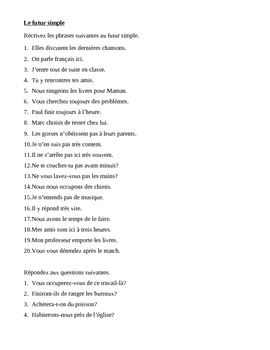Futur simple (Future tense in French) worksheet 4