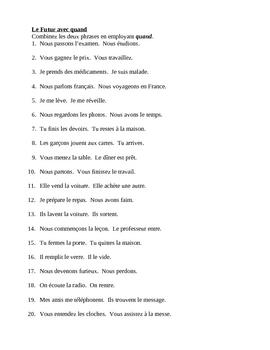 Futur avec Quand (Future tense in French) Worksheet 2
