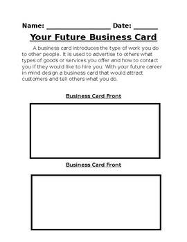 future career business card activity by lodes of learning tpt