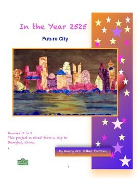 Future City Watercolor Collage Visual Arts Lesson for 5th to 9th Grade