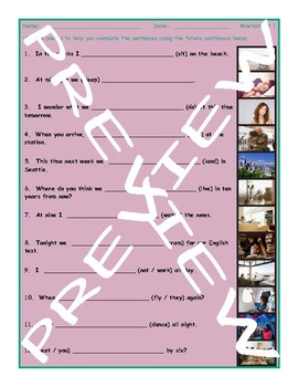 Future Continuous Tense 3 Photo Worksheet Set