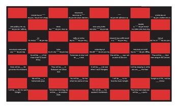 Future Continuous Tense Checker Board Game