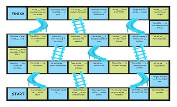 Future Continuous Tense Legal Size Text Chutes and Ladders Game