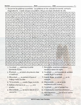 Future Continuous Tense Spanish Word Search Worksheet