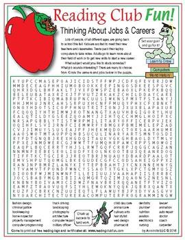 Future Jobs and Careers (Back to School) Word Search Puzzle