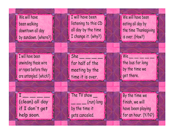Future Perfect Continuous Tense Cards