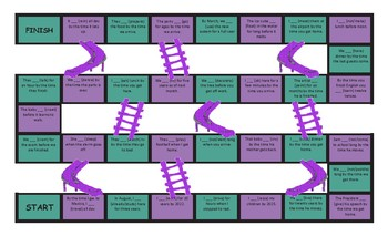Future Perfect Continuous Tense Legal Size Text Chutes and Ladders Game
