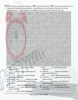 Future Perfect Continuous Tense Spanish Word Search Worksheet