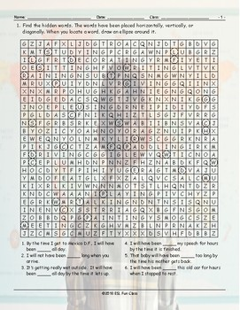 Future Perfect Continuous Tense Word Search Worksheet