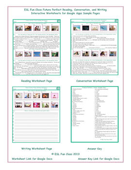 Future Perfect Read-Converse-Write Interactive Worksheets for Google Apps