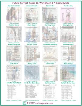 Future Perfect Tense 16 Worksheet- 4 Exam Bundle