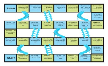 Future Perfect Tense Legal Size Text Chutes and Ladders Game