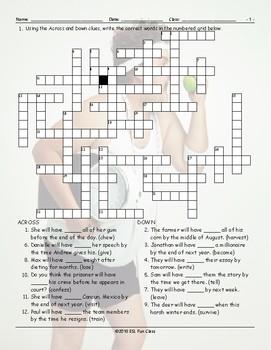 Future Perfect Tense Crossword Puzzle