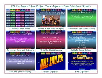 Future Perfect Tense Jeopardy PowerPoint Game