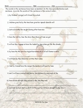 Future Perfect Tense Scrambled Sentences Worksheet