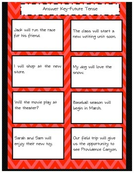 Future Perfect Tense Sort and Vocabulary Cards