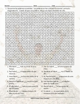 Future Perfect Tense Spanish Word Search Worksheet