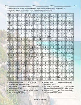 Future Perfect Tense Word Search Worksheet