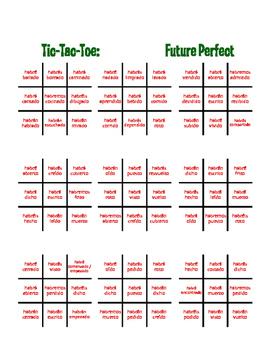 Spanish Future Perfect Tic Tac Toe Partner Game