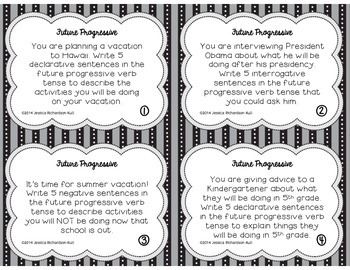 Future Progressive Verb Tense Study Task Cards