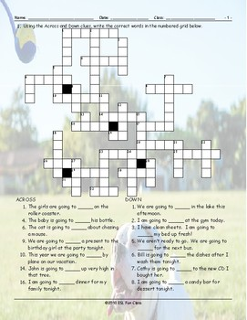 Future Simple Tense-Going To Crossword Puzzle