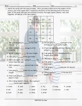 Future Simple Tense-Going To Magic Square Worksheet
