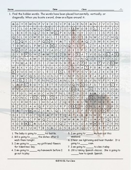 Future Simple Tense-Going To Word Search Worksheet