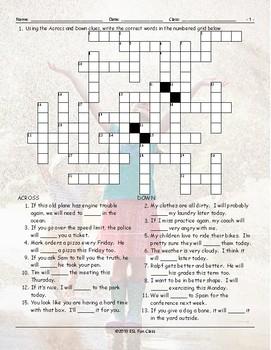 Future Simple Tense-Will Crossword Puzzle