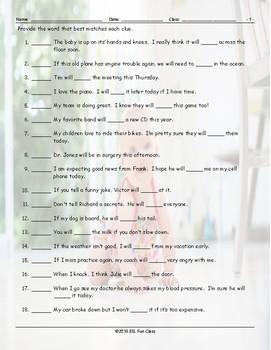 Future Simple Tense-Will Matching Worksheet