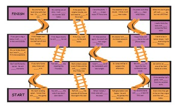 Future Simple Tense with Will Legal Size Text Chutes and Ladders Game