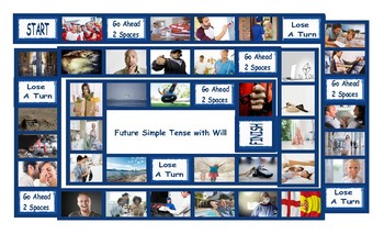 Future Simple Tense with Will Legal Size Photo Board Game