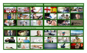 Future Simple Tense with Will Spanish Legal Size Photo Tic-Tac-Toe-Bingo Game